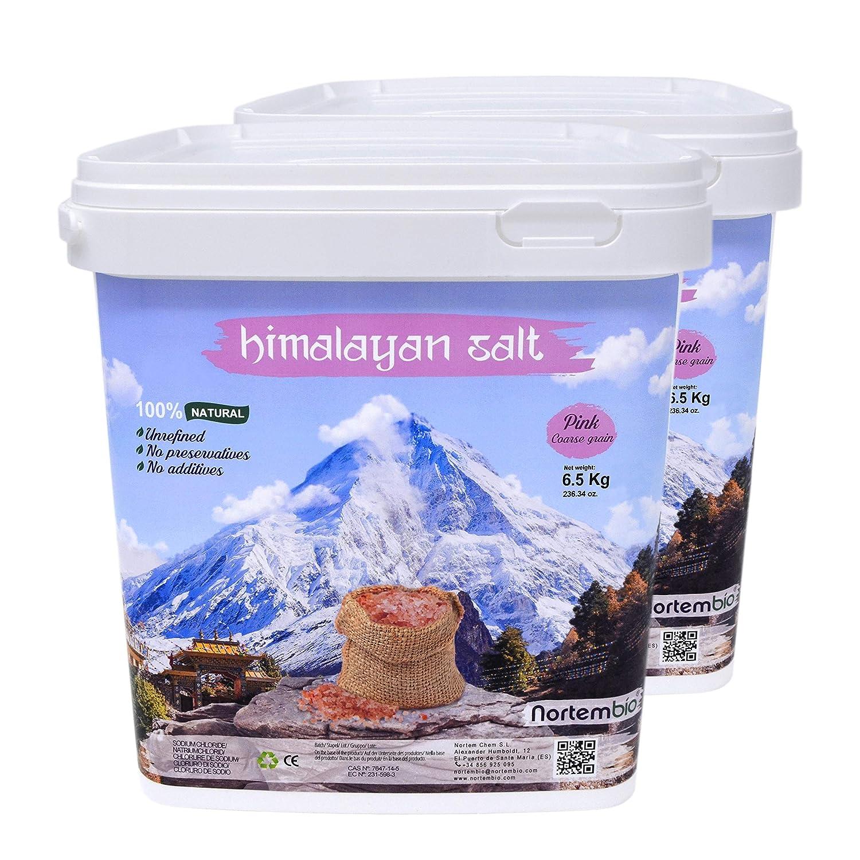 NortemBio Pink Himalayan Salt 2x6 5 Kg  Coarse Grain (2-5 mm)  100%  Natural  Unrefined  Non-preservatives  Hand-Harvested  Premium Quality