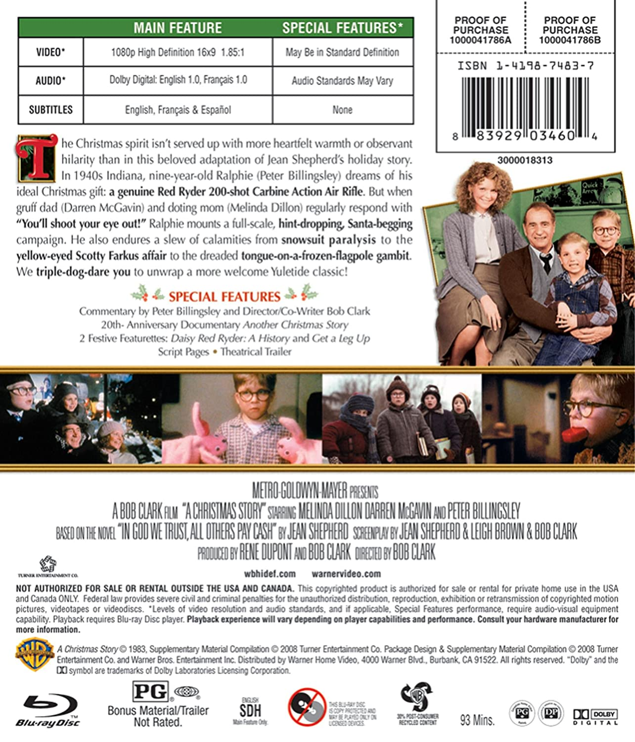 A A Christmas Story Blu-ray 1983 US Import 2008: Amazon.co.uk: DVD ...