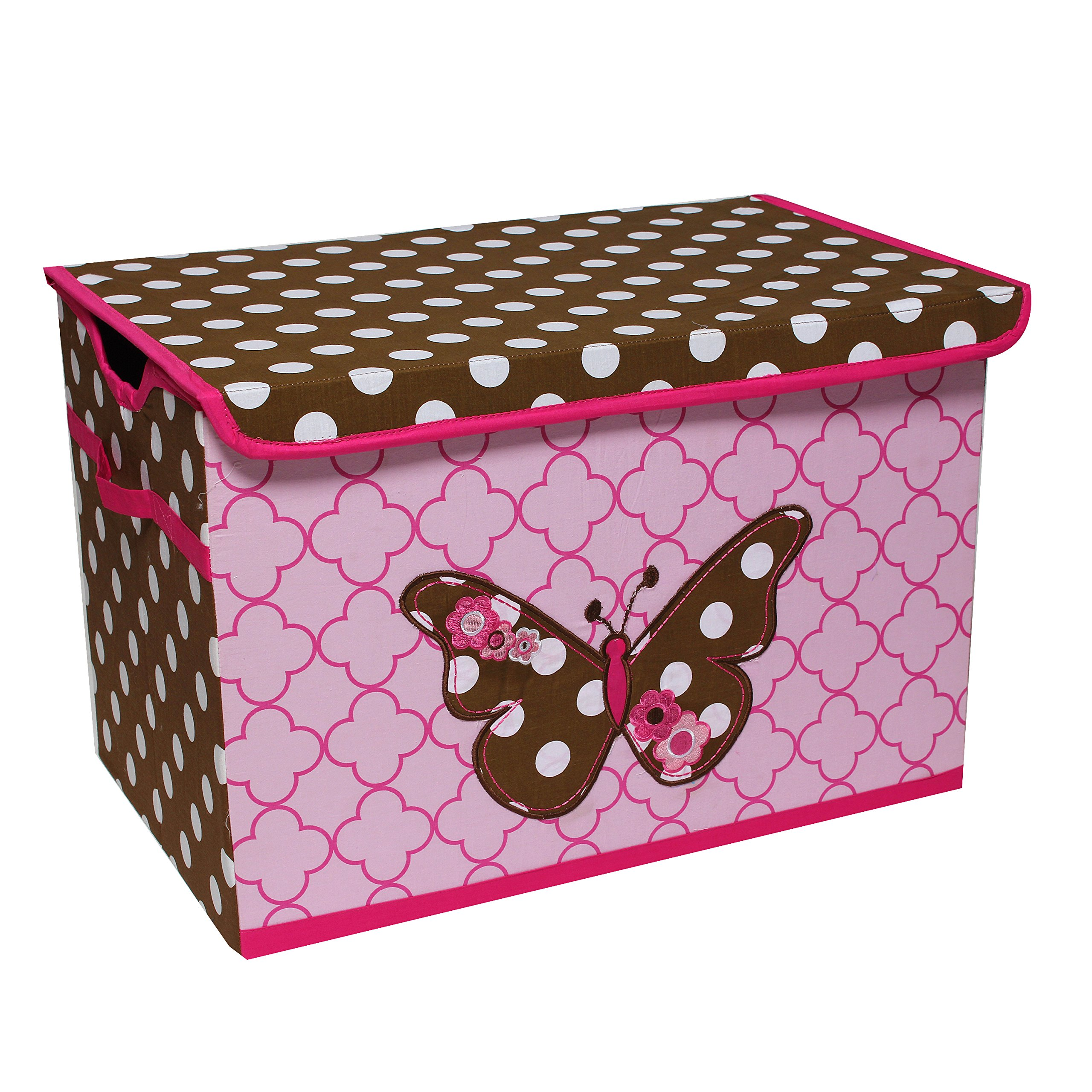 Bacati Butterflies Storage Toy Chest, Pink/Chocolate