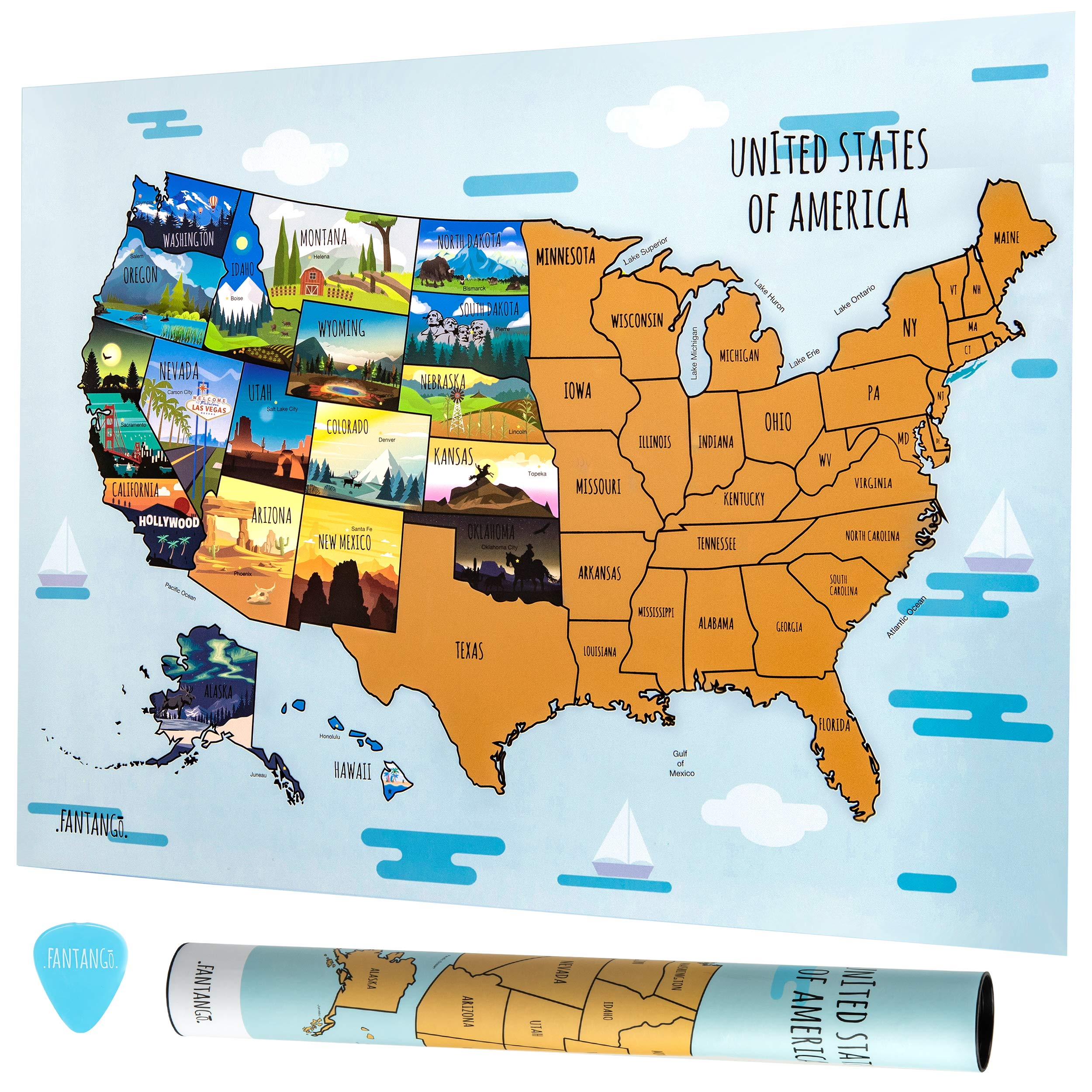 Fantango Scratch Off Map of The United States - 50 State 18'' x 24'' Paper Crafts Activity Poster - US North America with Capitols, Scratching Pick - USA Travel Scratchoff Sheet for Kids, Adults by Fantango