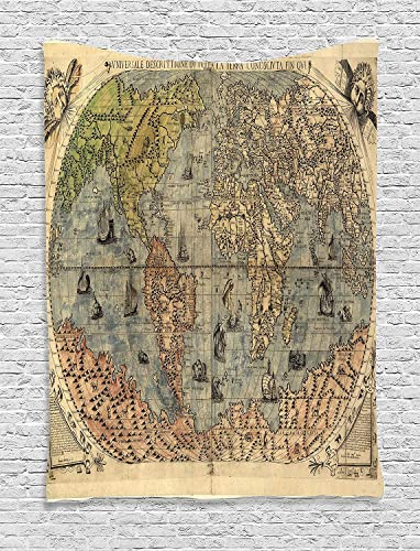 Ambesonne Antique Tapestry, Map of World Global History Stained Paper Oceans Lands Vintage Atlas, Wall Hanging for Bedroom Living Room Dorm Decor, 40 X 60 , Cream Green