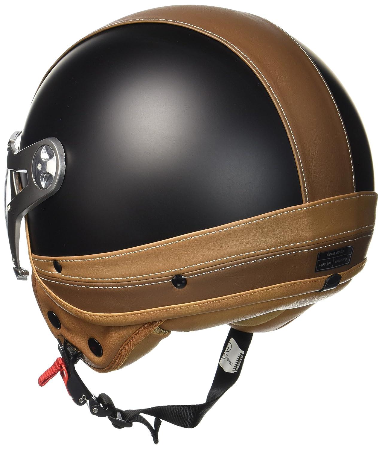 SOXON SP-325-URBAN Creme /· Moto Cruiser Vespa Vintage Pilot Demi-Jet Biker Helmet Casque Jet Chopper Retro Mofa Scooter Bobber /· ECE certifi/és /· conception en cuir /· visi/ère inclus /· y compris le sac de casq