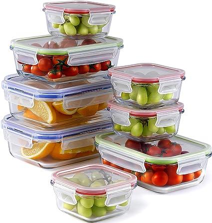 Frischhaltedose Set (8 Stück, 3 Größen) | Meal Prep Vorratsdosen Glas Luftdicht | Glasbehälter Mit Deckel Set | Perfekte Fris
