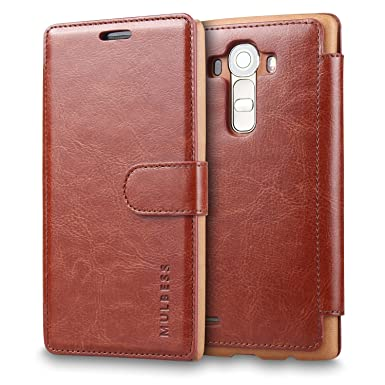 new style ccf19 c9b18 LG G4 Case - Mulbess PU Leather Flip Case Cover for LG G4 Wallet Coffee  Brown