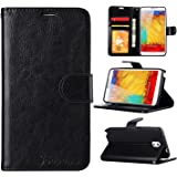 Note 3 Case, Galaxy Note 3 Case, Joopapa Galaxy Note 3 Luxury Fashion Pu Leather Magnet Wallet Flip Case Cover with Built-in Credit Card/ID Card Slots for Samsung Galaxy Note 3 N9000 (Black)