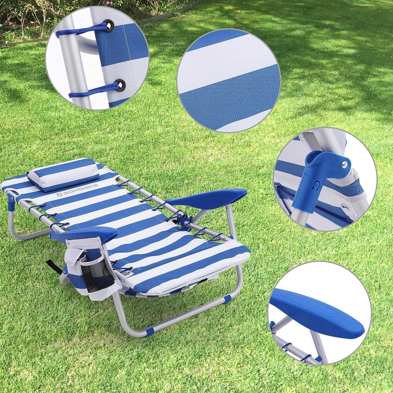 faltbar und verstellbar wie EIN Rucksack tragbar Campingstuhl Outdoor-Stuhl blau-wei/ß gestreift GCB62BU SONGMICS Strandstuhl mit Kopfkissen Aluminium tragbarer Klappstuhl