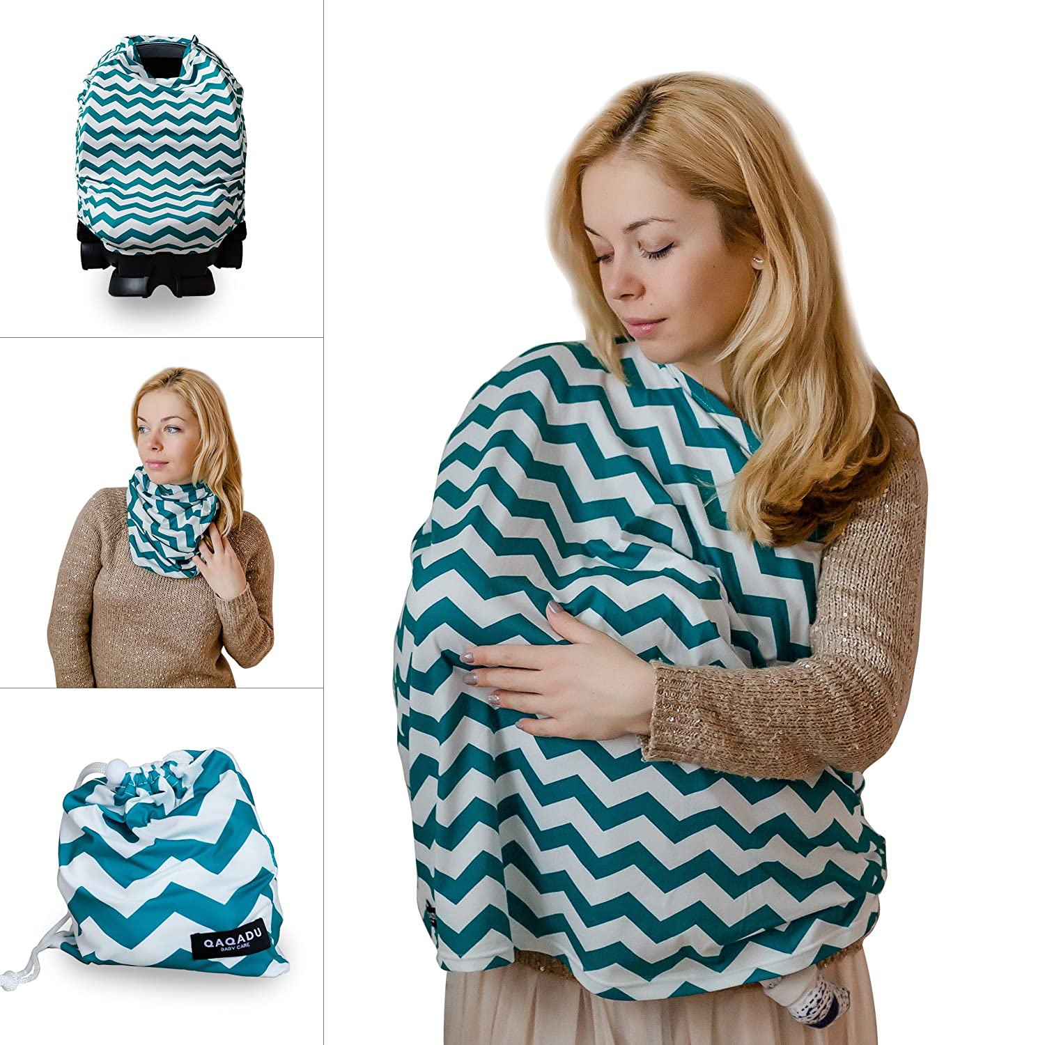 Nursing Breastfeeding Cover Scarf - Baby Car Seat Canopy - Nursing Pads, Pouch & Gift Pack Set - Shopping Cart, Stroller, Carseat Covers for Girls and Boys - Best Multi-Use Infinity Stretchy Shawl QAQADU