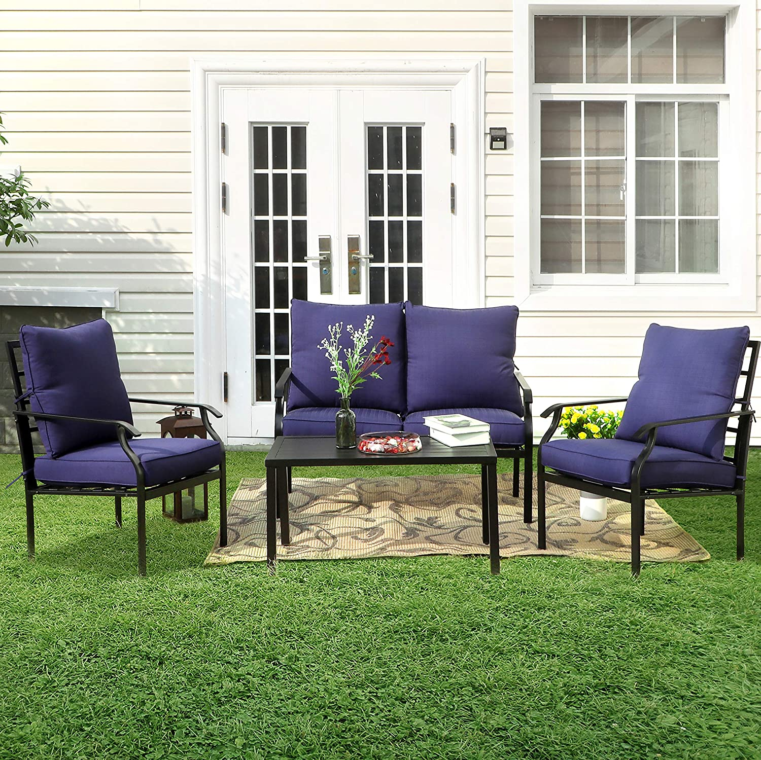Phi Villa Metal 4 Piece Outdoor Patio Furniture Padded Conversation Set With 1 Loveseat 2 Chairs 1 Coffee Table 4 Free Pillows Navy Blue Garden Outdoor