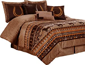 Chezmoi Collection Sedona by 7-Piece Southwestern Wild Horses Microsuede Bedding Comforter Set (Queen), Brown