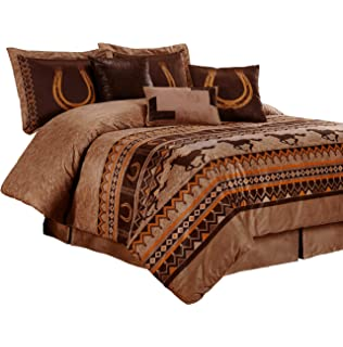 chezmoi collection sedona 7 piece southwestern wild horses microsuede bedding comforter set king - Western Bedding