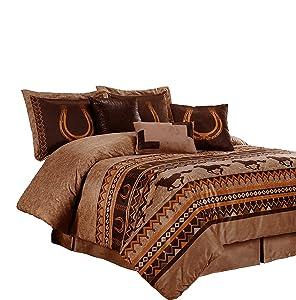 Chezmoi Collection Sedona by 7-Piece Southwestern Wild Horses Microsuede Bedding Comforter Set (California King), Brown