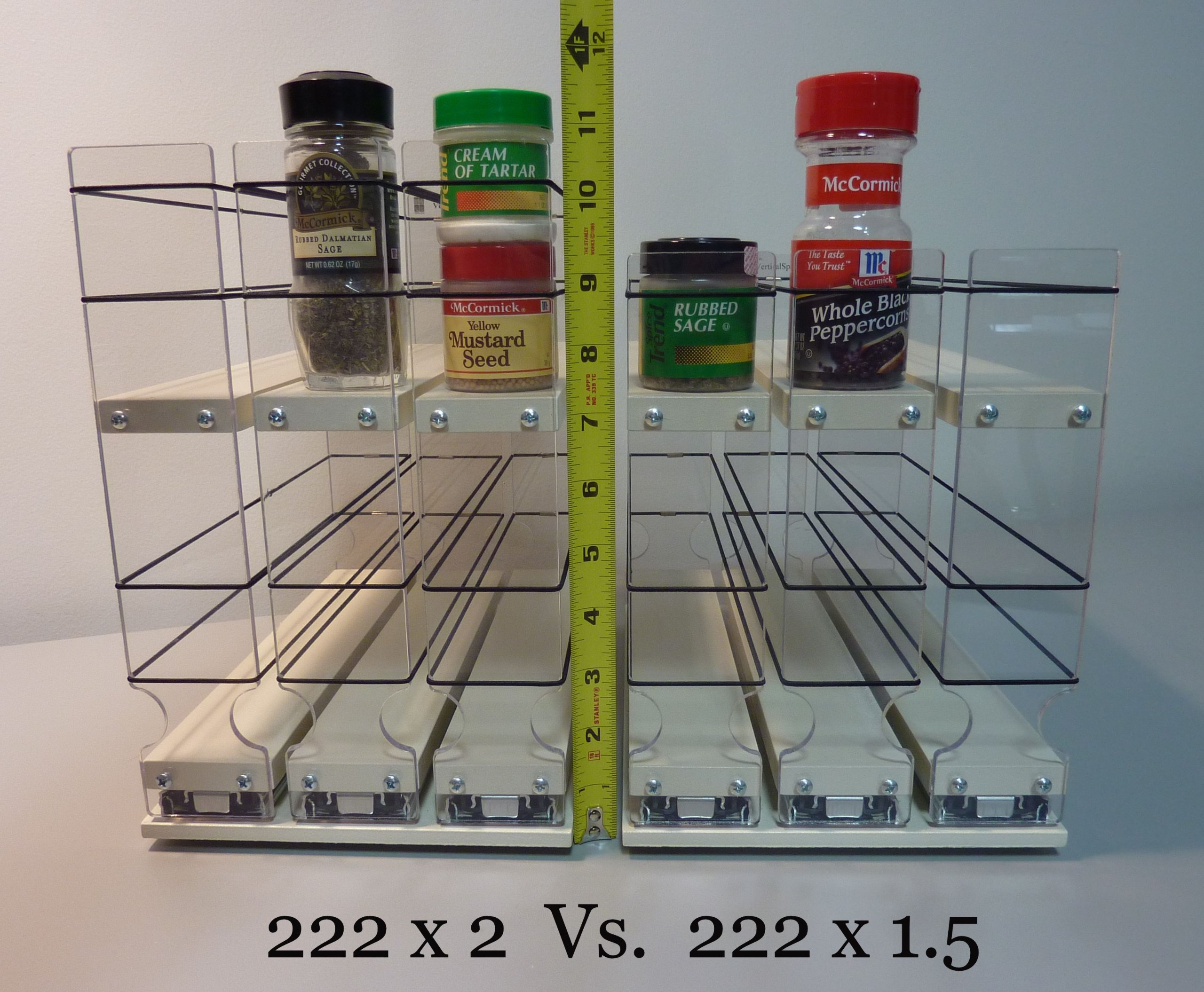 Vertical Spice - 22x2x11 DC - Spice Rack - Narrow Space w/2 Drawers each with 2 Shelves - 20 Spice Capacity - Easy to Install by Vertical Spice