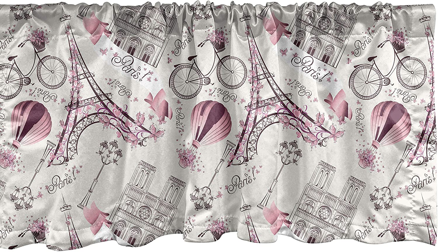 Lunarable City Love Window Valance, Iconic Elements of Paris Hearts on The Eiffel Tower and a Bicycle, Curtain Valance for Kitchen Bedroom Decor with Rod Pocket, 54