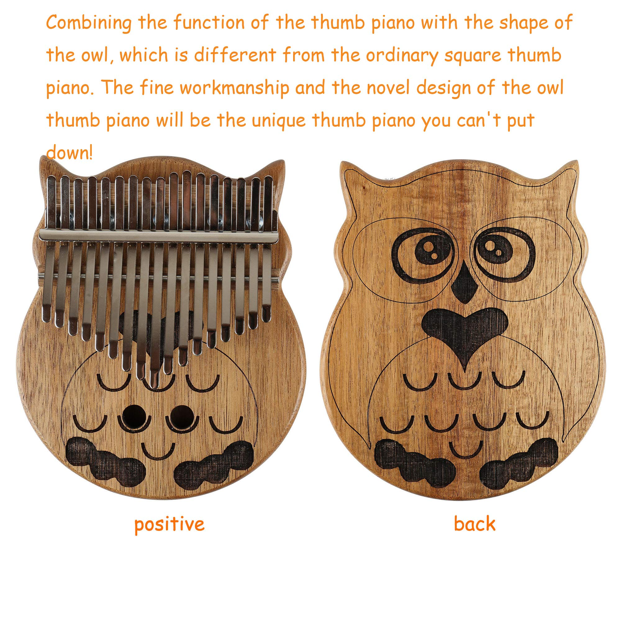 Owl Kalimba Thumb Piano 17 Keys Thumb Instrument with Number Sticker, Tuning Hammer, Protective Box and Cleanning Cloth by Caiyuangg (Image #2)