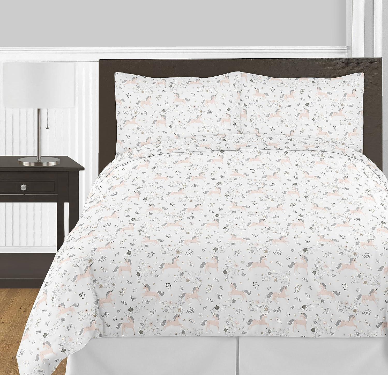 Sweet Jojo Designs Pink, Grey and Gold Unicorn Girl Full/Queen Kid Childrens Bedding Comforter Set - 3 Pieces