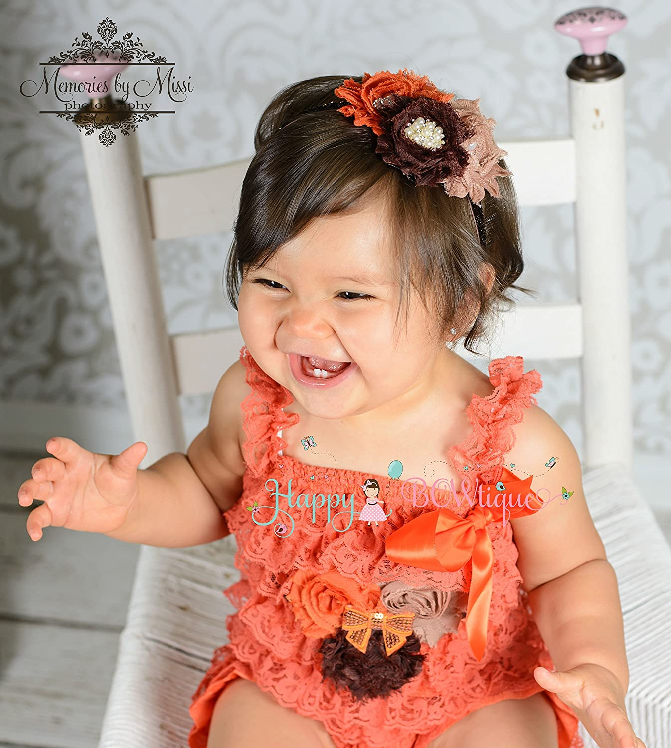 Baby Girl Fall Orange Romper set ~ Thanksgiving Romper Set, Baby Girl Orange Romper