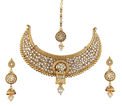 efbe36547 Sitashi 18 K Gold Plated Antique Rajwadi Collection Kundan And Pearl Necklace  Set For Girls And