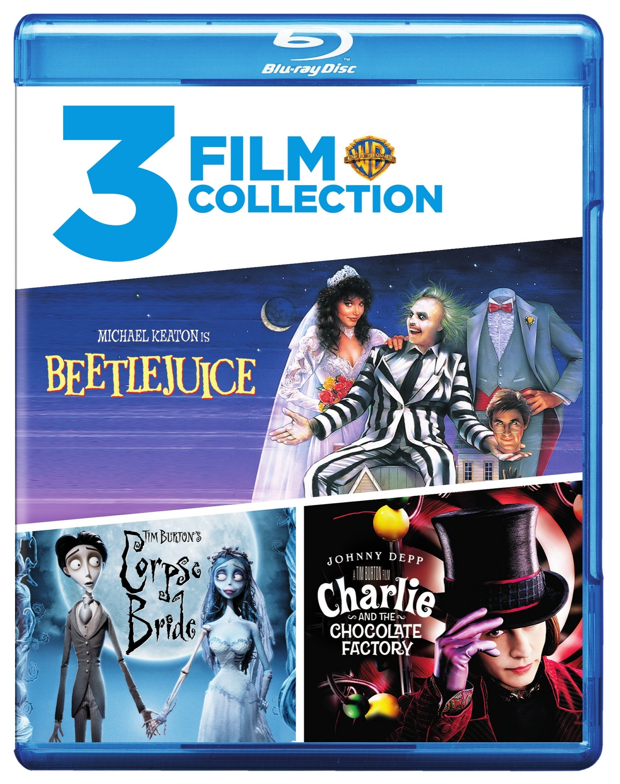 Blu-ray : Beetlejuice / Charlie and the Chocolate Factory / Tim Burton's Corpse Bride (3 Disc)