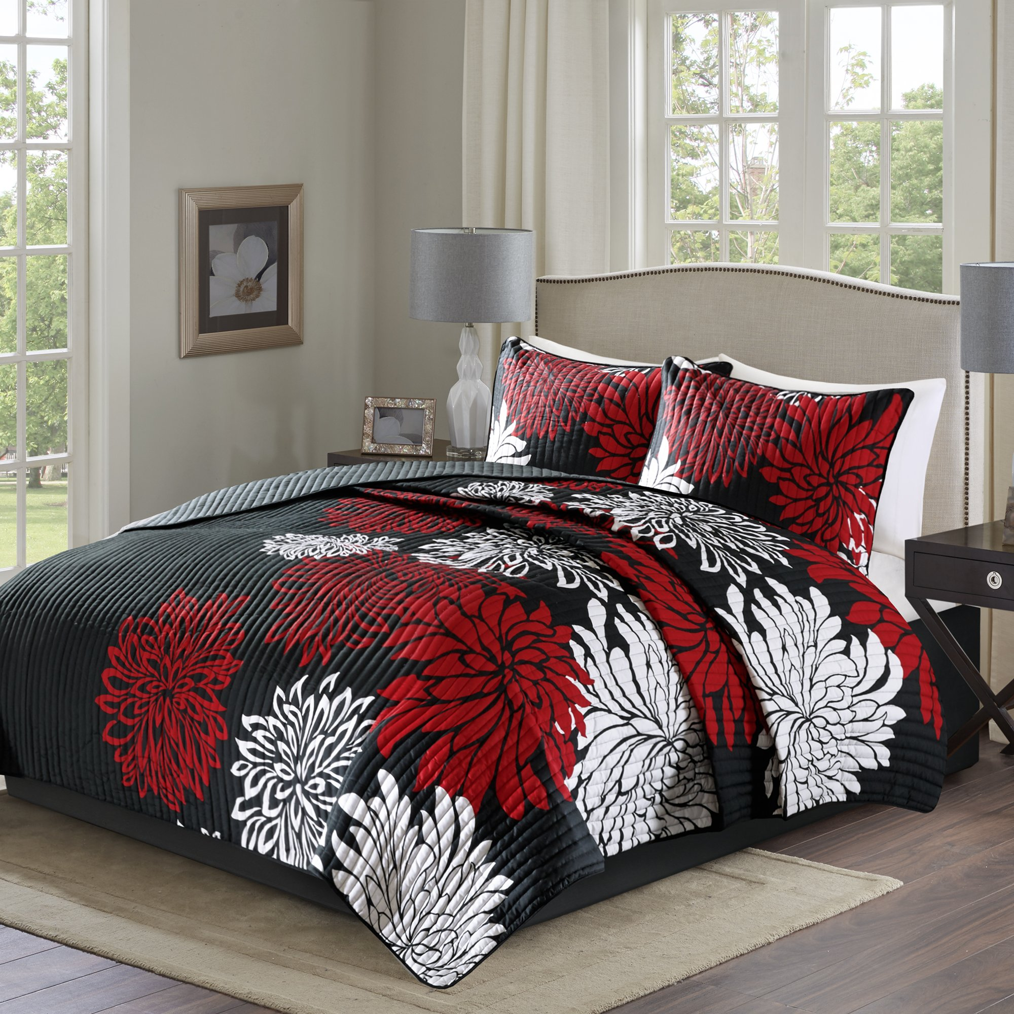 Comfort Spaces – Enya Quilt Mini Set - 3 Piece – Black and Red – Floral Printed Pattern – Full/Queen size, includes 1 Quilt, 2 Shams by Comfort Spaces