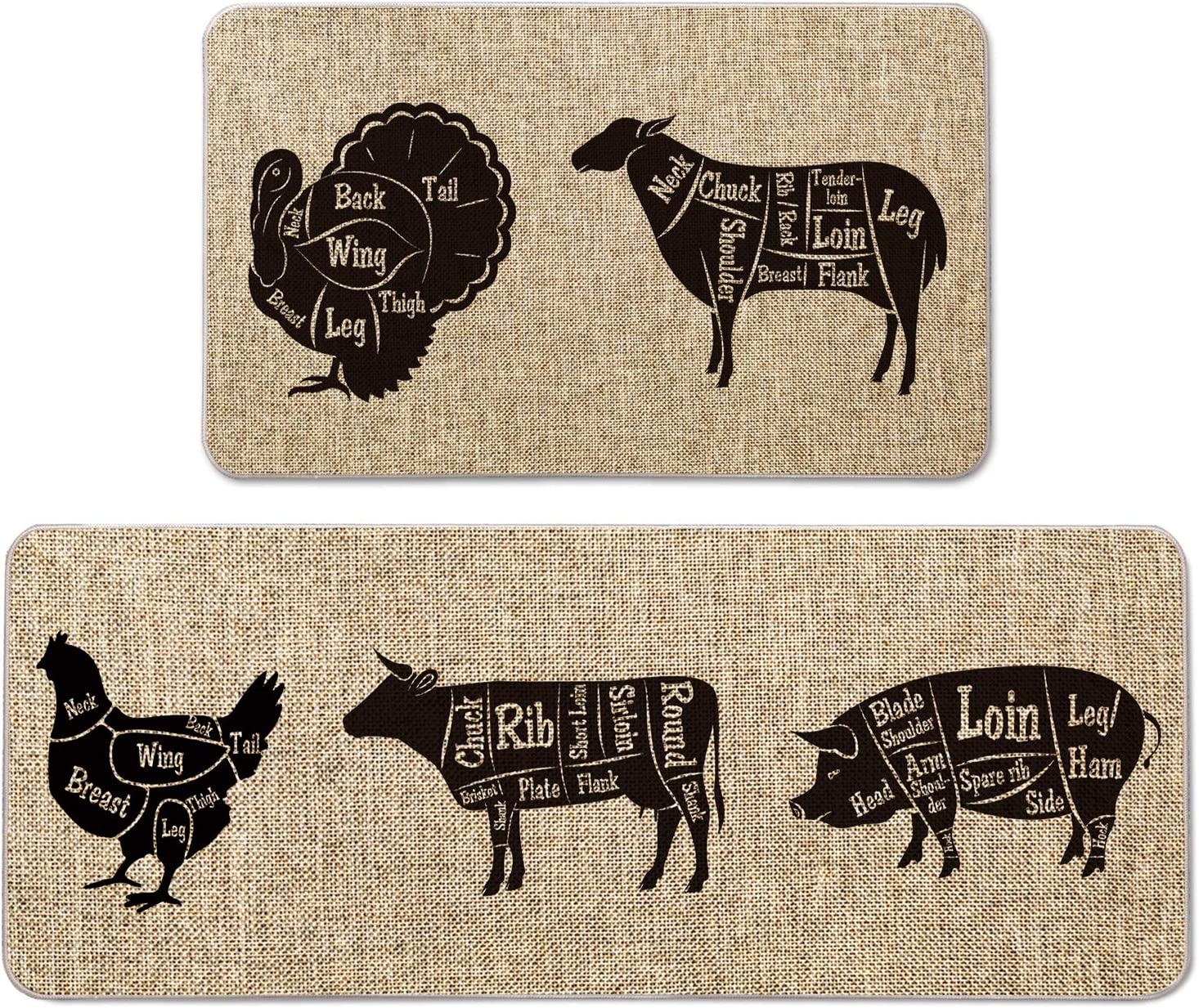 Artoid Mode Turkey Goat Chicken Cow Pig Decorative Kitchen Mats Set of 2, Farmhouse Seasonal Holiday Party Low-Profile Floor Mat for Home Kitchen - 17x29 and 17x47 Inch