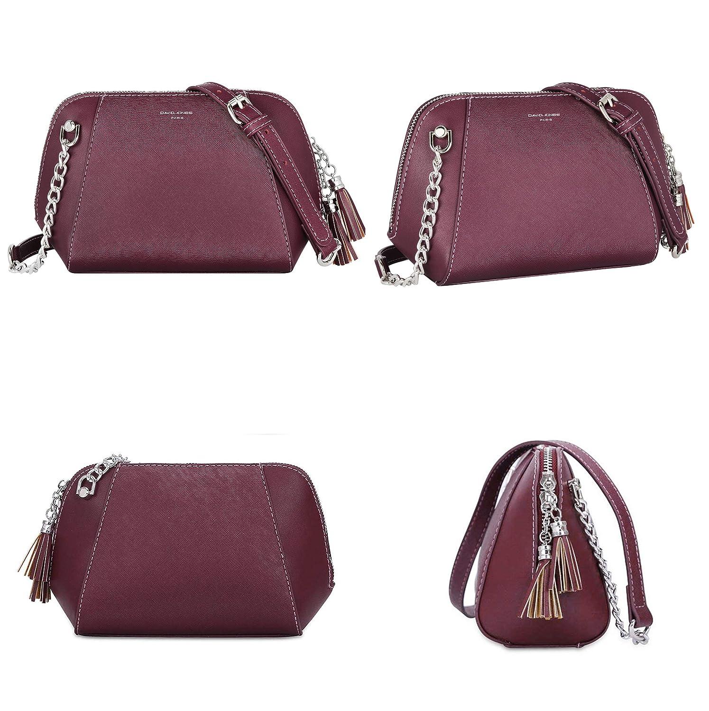 efa0db46ed6f5 David Jones - Damen Kleine Trapez Umhängetasche - Kette Handtasche  Schultertasche - PU Leder - Messenger Crossbody Bag - Frauen Mini Clutch  Quaste ...