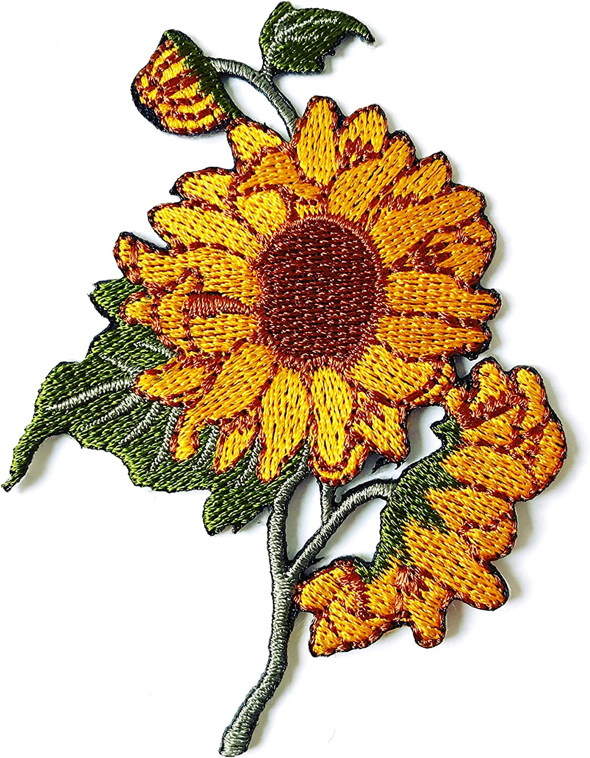 TH Sunflower Garden Plant Sunflower Flower Granny Chic Retro Boho Embroidered Applique Sew Iron on Patch for Hat Jackets Bags Jeans T-Shirt Backpacks Costume
