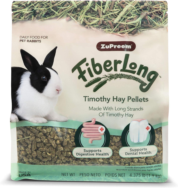 ZuPreem FiberLong Timothy Hay Pellets Rabbit Food, 4.375 lb Bag - Long Strand Sun-Cured Hay, Made in The USA