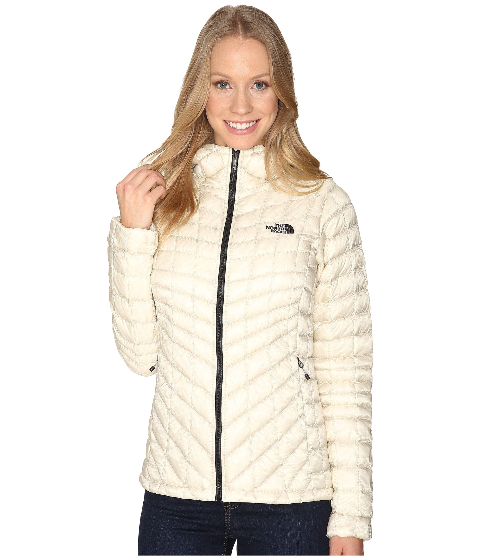 The North Face Women'S Thermoball Hooded Jacket (M, Vintage White)