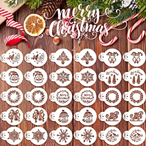 30 Pieces Christmas Cookie Stencils Fondant Cupcake Stencil Set Decorative Stencils Cake Tool