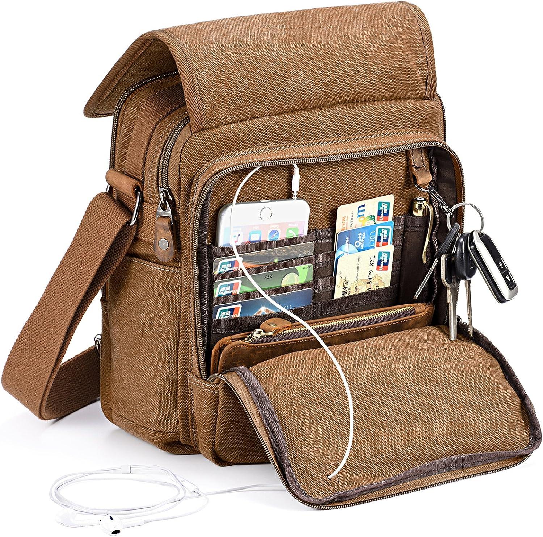 Multi Zipper Pocket Large /& Small Lightweight Slim Crossbody Faux Leather Messenger