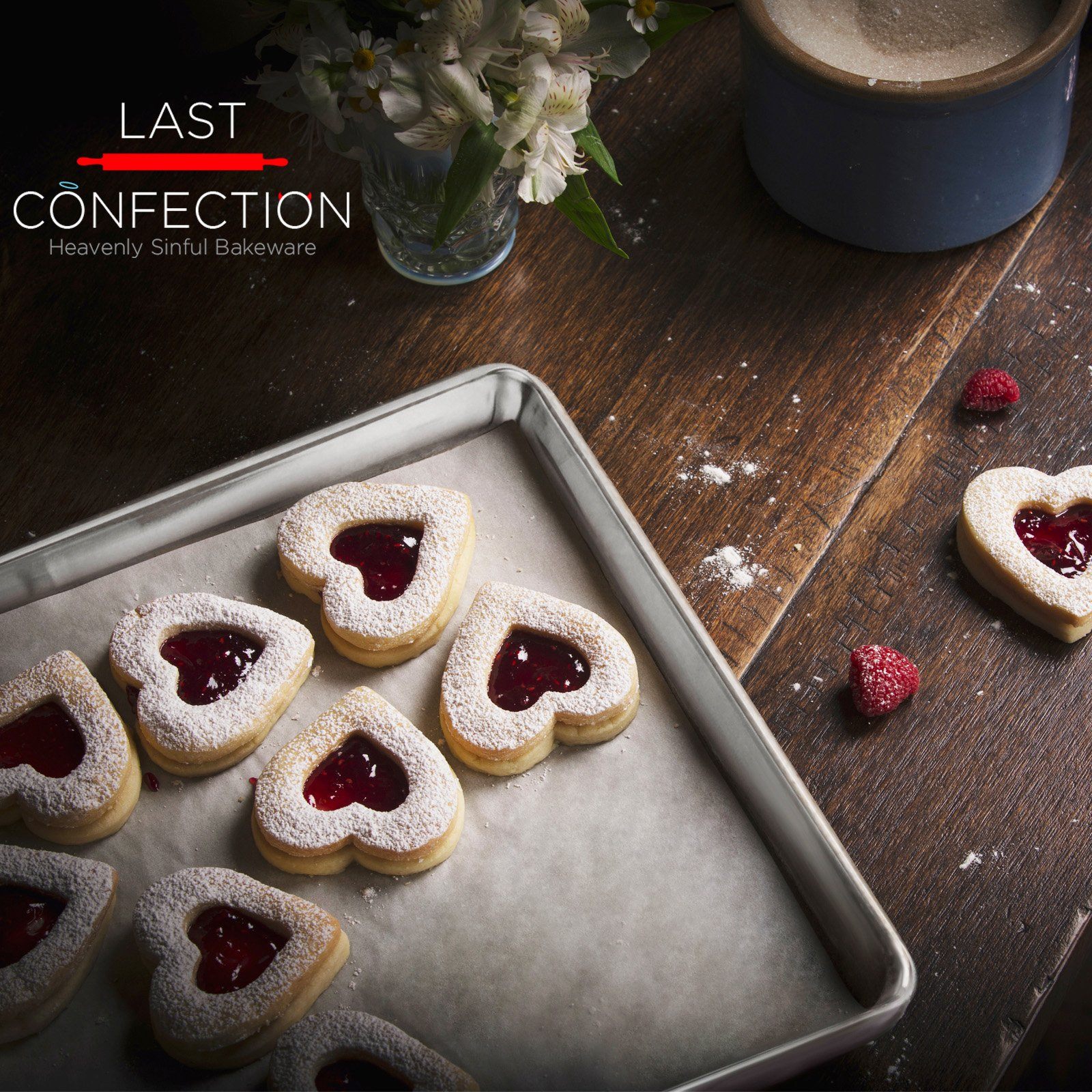 Last Confection 6 Cookie Baking Sheets 13'' x 18'' - Rimmed Aluminum Jelly Roll Trays - Half Sheet Pans by Last Confection (Image #6)
