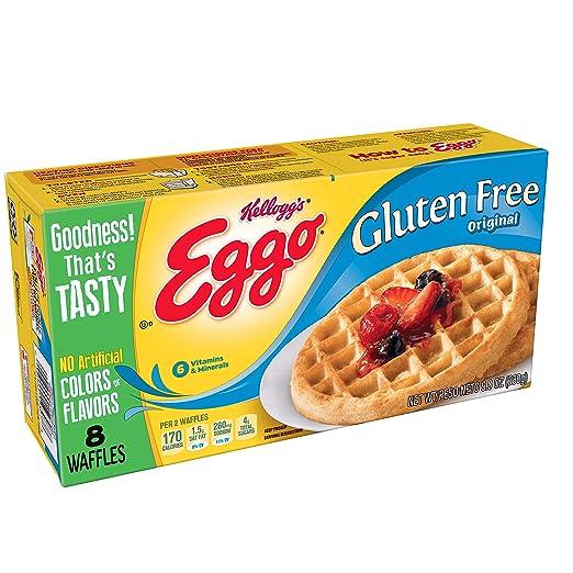 Kelloggs Eggo, Gluten Free, Frozen Waffles, Original, Easy Breakfast, 9.8 oz Box (8 Count)