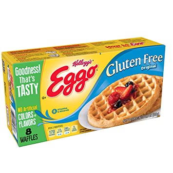 Kelloggs Eggo, Gluten Free, Frozen Waffles, Original, Easy Breakfast, 9.8 oz Box (8 Count)