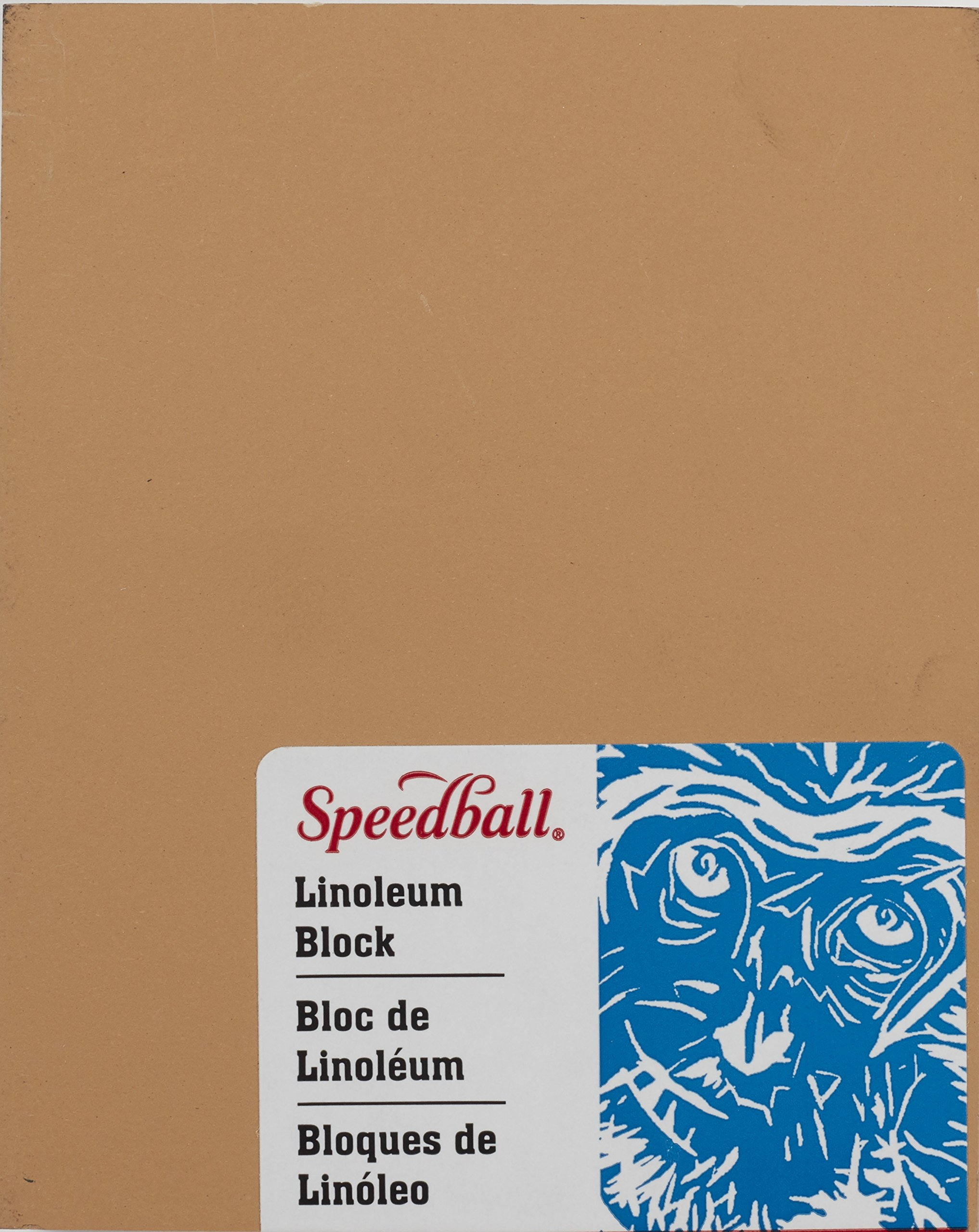 Speedball 4307 Premium Mounted Linoleum Block – Fine, Flat Surface for Easy Carving, Smoky Tan, 4 x 5 Inches