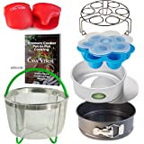Casa Verde 7 Piece Pressure Cooker Accessories Set Compatible with Instant Pot 6, 8 Qt | Egg Bite Mold, Steamer Basket, Springform Pan, Push Pan, Trivet/Egg Steamer, Oven Mitts, PIP Recipe eBook