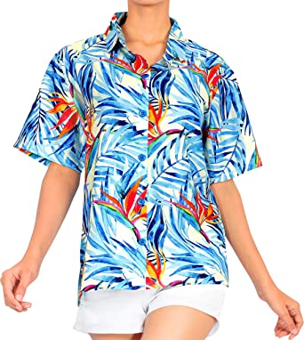 HAPPY BAY v botón de Camisa de Cuello clásico árbol de Palma de Las Mujeres del Cuello hasta la Camisa Hawaiana: Amazon.es: Ropa y accesorios