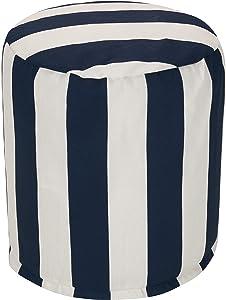 "Majestic Home Goods Navy Blue Vertical Stripe Indoor/Outdoor Bean Bag Ottoman Pouf 16"" L x 16"" W x 17"" H"