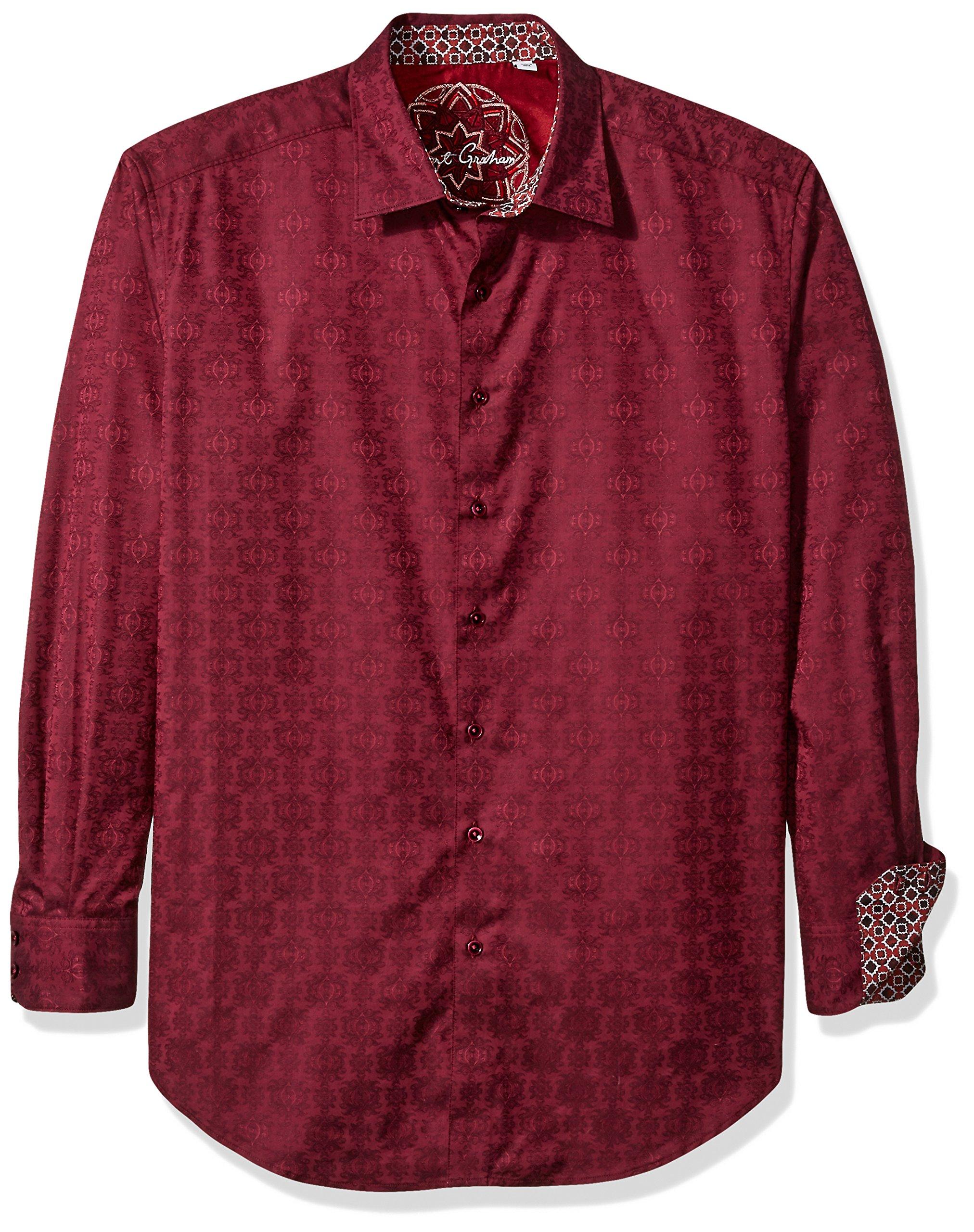 Robert Graham Men's Cullen L/s Classic Fit Shirt, Wine 2XL