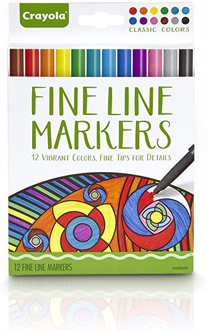 Contemporary Colors Crayola Aged Up Adult Coloring 12ct Fine Line Markers