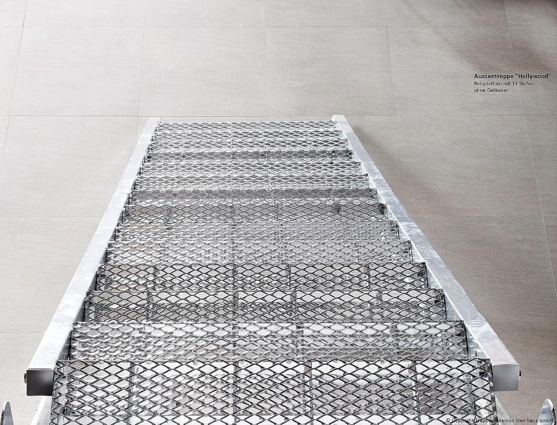 Intercon Au/ßentreppe Hollywood 80 cm breit mit WPC oder Streckgitter Stufen f/ür Gescho/ßh/öhe 72 14 Stufen Braun 330 cm mit 4