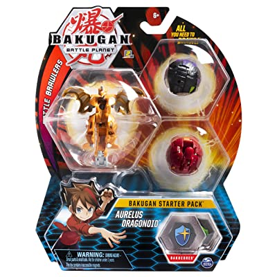 Bakugan Starter Pack 3-Pack, Aurelus Dragonoid, Collectible Action Figures, for Ages 6 and Up: Toys & Games
