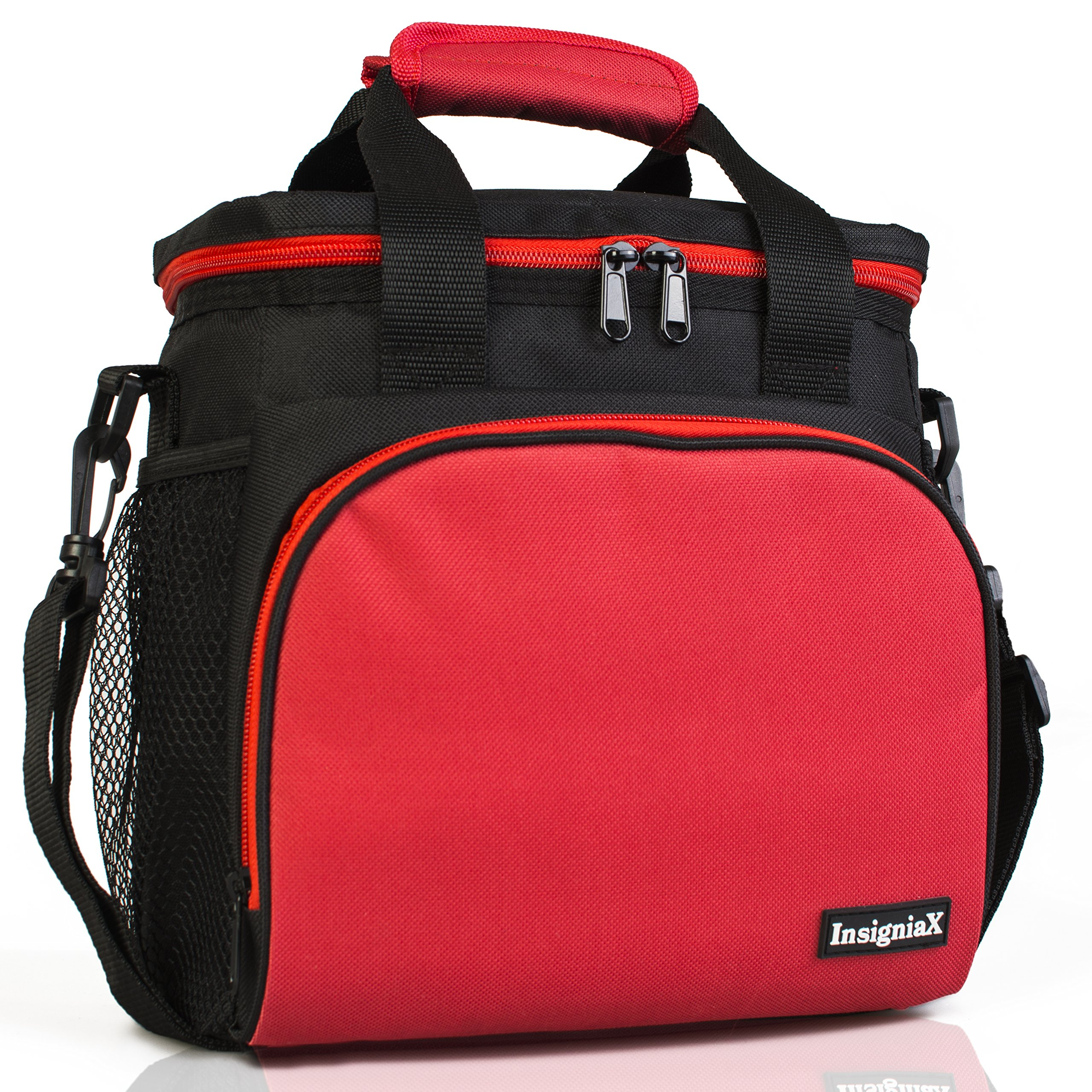 Insulated Lunch Bag: InsigniaX Adult Lunch Box For Work, Men, Women With Adjustable Strap, Front Pocket and Side Pocket [Unisex Lunch Bags] H: 8.4'' x W: 6.3'' x L:9.1'' (Black & Red)
