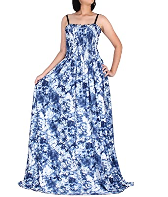 Tall Women Plus Size Maxi New Sun Dress Casual Strapy Summer Party Artistic  Blue