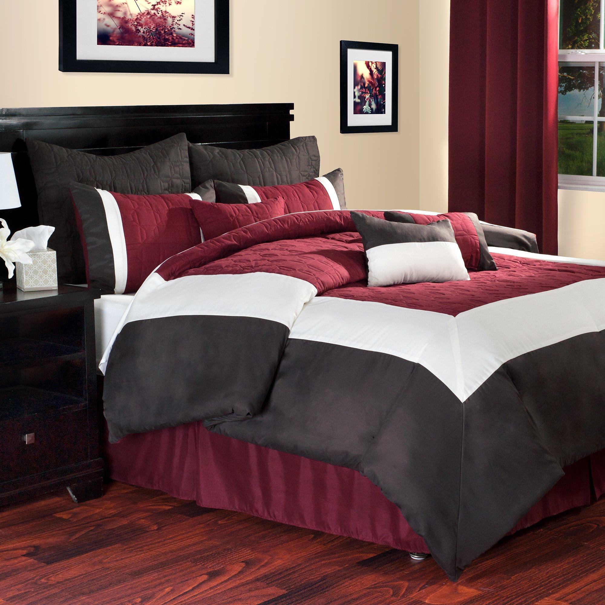 Lavish Home Hotel 9-Piece Comforter Set, Queen, Burgundy