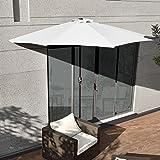 [casa.pro]® Sonnenschirm mit Kurbel Weiß halbrund Ø300cm groß Balkon Garten