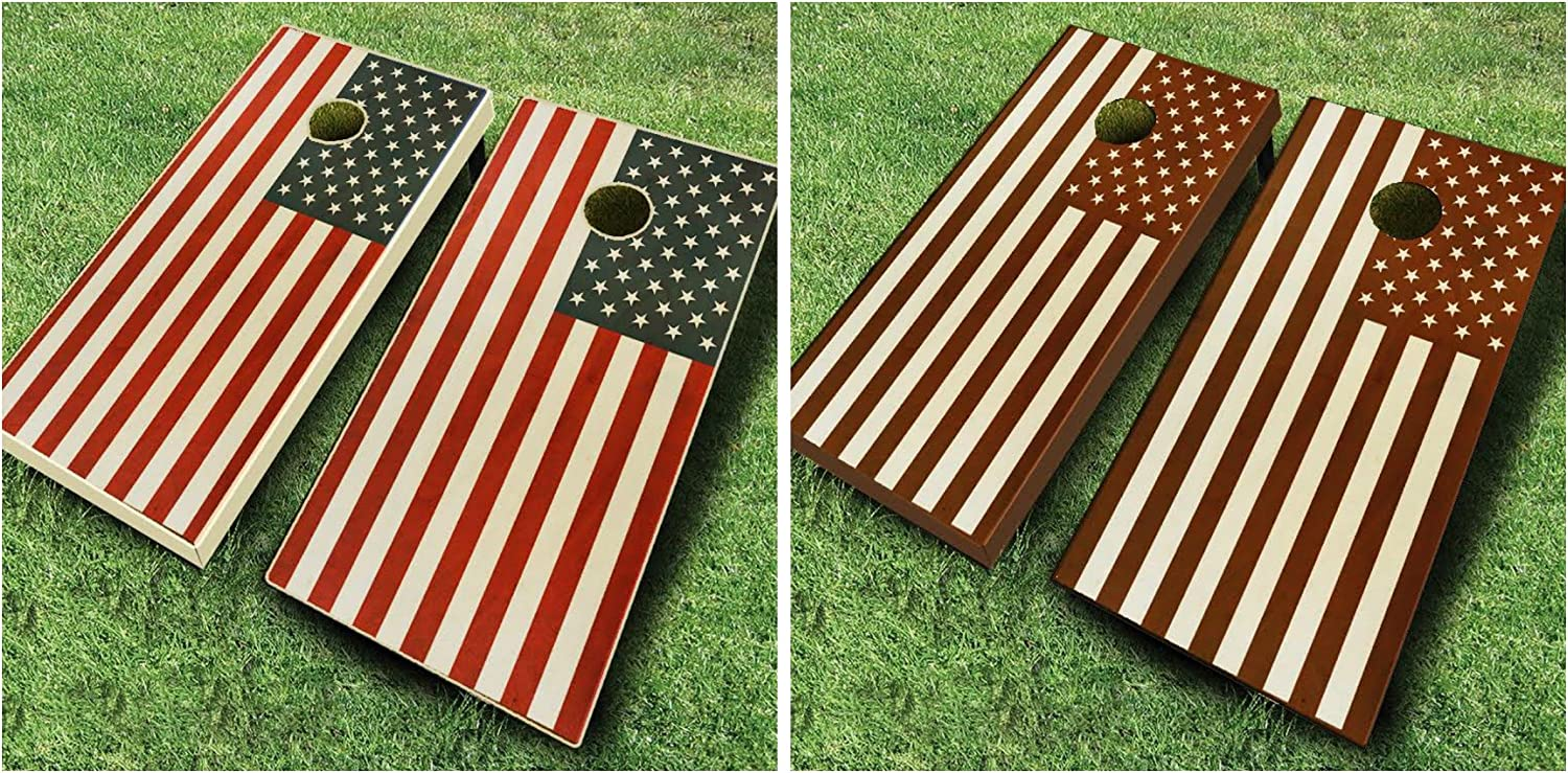 アメリカ国旗Stained Cornholeボードregulation sizeゲームセットBean Bag Toss + 8 ACA Regulation Bags Dark 褐色 Stain