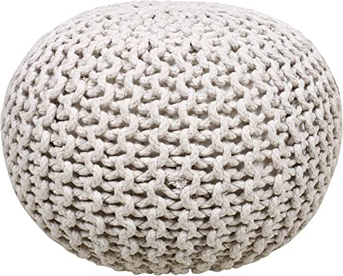 Cheap Hand Knit Puff Ottoman Indian Cotton Cord Boho Decor Foot Stool Great ottoman chair for sale
