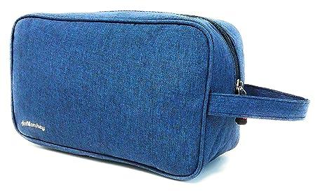 Neceser Bolsa de Aseo Hombre Diseño Premium Exclusivo Liso Tela Impermeable para Hombre Varios Colores Impermeable (Azul Oceano)