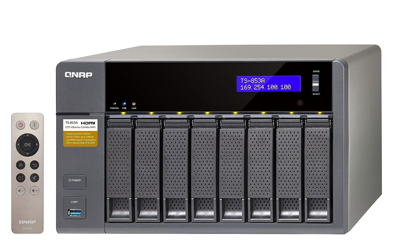 QNAP TS-853A Ethernet Torre Aluminio, Negro NAS - Unidad Raid (24 TB, Unidad de Disco Duro, Unidad de Disco Duro, SSD, Serial ATA III, 3000 GB, 3.5