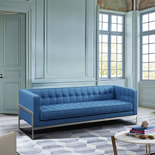 Andre Contemporary Sofa, Blue Fabric